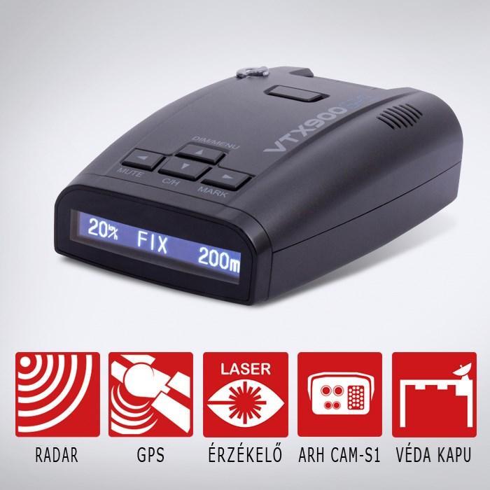 KIYO VTX900GPS radar- és lézerdetektor GPS adatbázissal