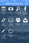 BMW Club Danmark App Phone Overview
