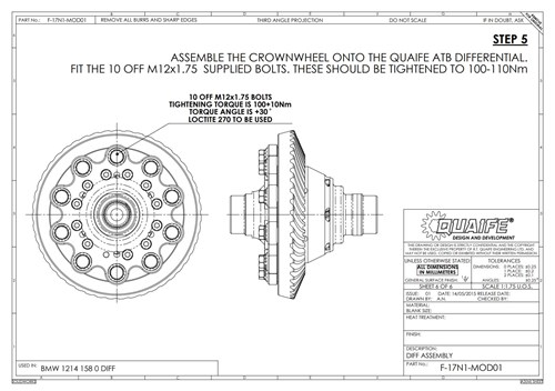 Schmiedmann BMW E93 335I Quaife Differentiale Technical Drawing