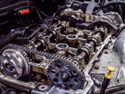Blue MINI Cooper S Engine Block