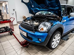 Blue MINI Cooper S Engine