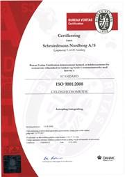 Certifikat Iso 9001 2008 Schmiedmann Nordborg
